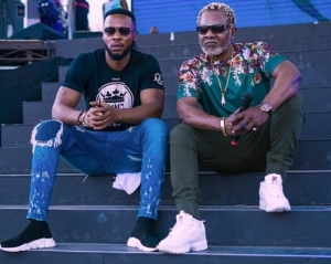 Flavour Pictured With Congolese Music Legend, Awilo Logomba